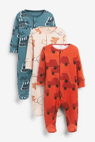 Rust 3 Pack Transport Sleepsuits (0-2yrs)