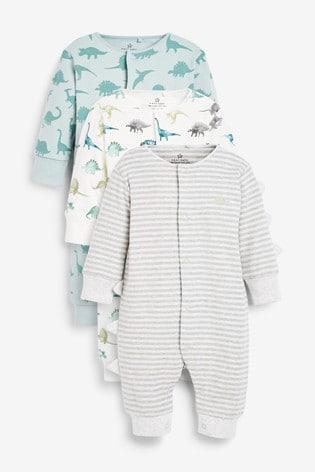 Teal 3 Pack Stripe Dinosaur Footless Sleepsuits (0mths-3yrs)