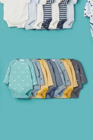 Teal 7 Pack Star Stripe Long Sleeve Bodysuits (0mths-3yrs)