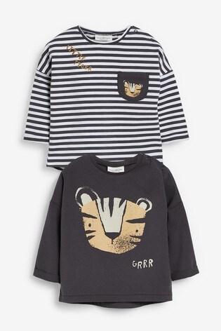 Monochrome Tiger 2 Pack Stretch T-Shirts (0mths-2yrs)