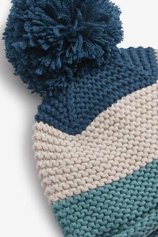 Blue Colourblock Pom Hat (0mths-2yrs)