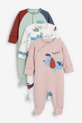 Teal 3 Pack Stripe Dog Sleepsuits (0mths-2yrs)