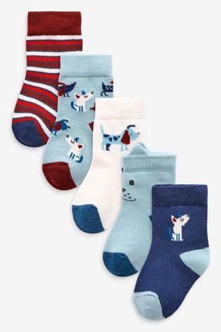 Red/Navy/White 5 Pack Dog Socks (Younger)