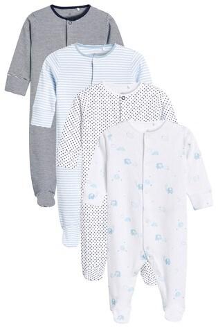 Blue/White 4 Pack Elephant Sleepsuits (0-2yrs)