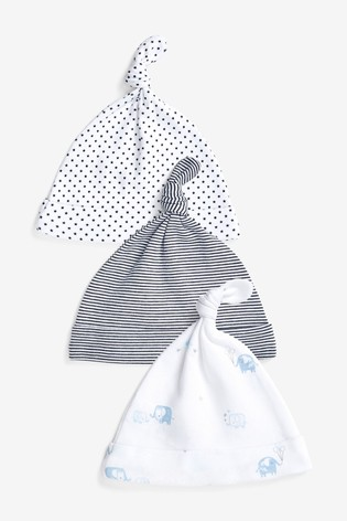 Blue/White 3 Pack Tie Top Hats (0-18mths)
