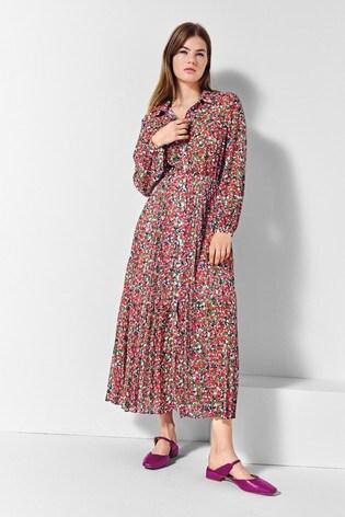 Next/Mix Floral Pleat Shirt Dress