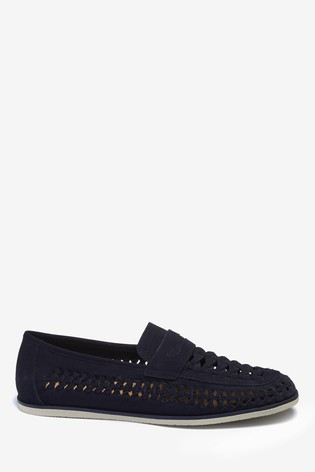 Navy Weave Loafers