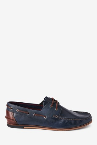 Navy Formal Textured Leather Boat Shoes