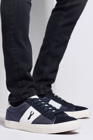 Navy Suede Side Stripe Trainers