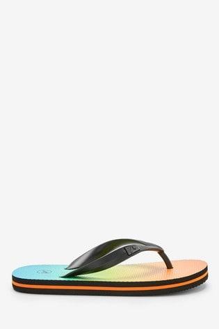 Green/Orange Ombre Flip Flops