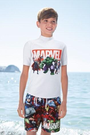 White Marvel® Rash Vest (3-12yrs)