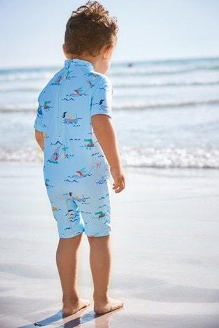 Blue Printed Sunsafe Swimsuit (3mths-7yrs)