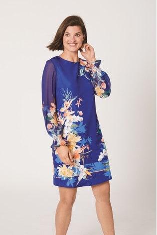 Blue Border Print Dress