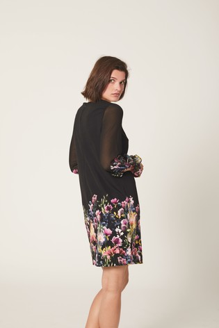 Black Border Print Dress