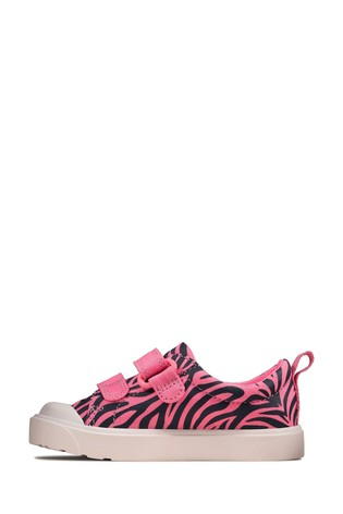 Clarks Pink Combi City Bright T Canvas Shoes