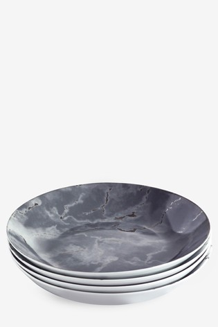 Silver Marble Set of 4 Pasta Bowls