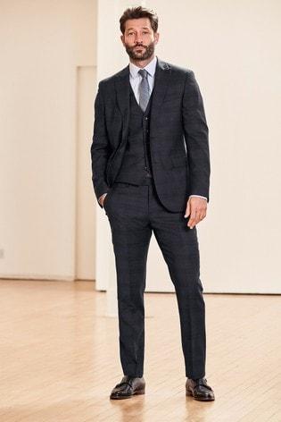 Blue Slim Fit Check Suit: Jacket