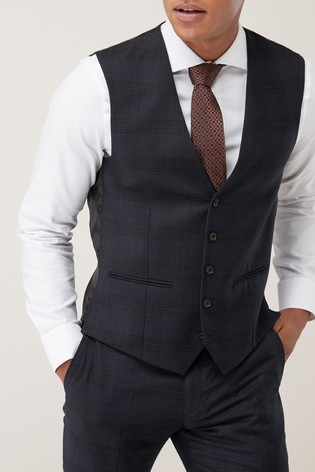 Blue Waistcoat Slim Fit Signature Check Suit: Jacket