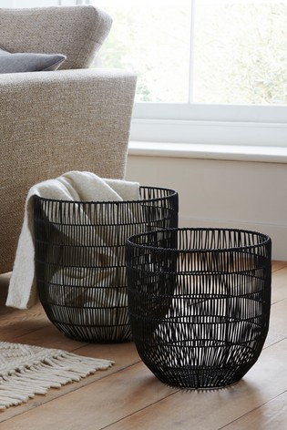 Set of 2 Large Woven Baskets