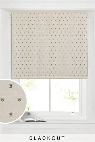 Natural Bee Print Blackout Roller Blind