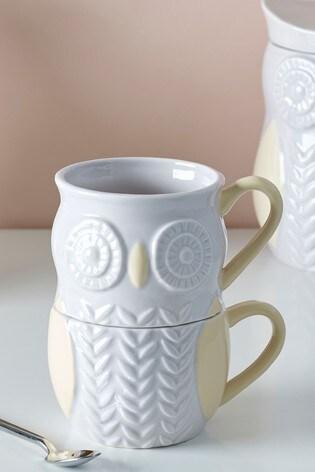 Set of 2 Owl Stacking Mugs