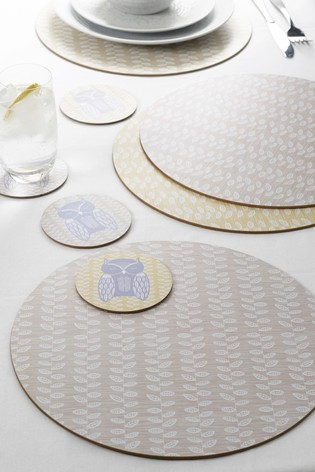 Set of 4 Leaf Print Placemats And Coasters
