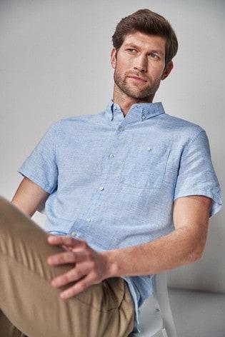 Blue Regular Fit Linen Blend Short Sleeve Shirt