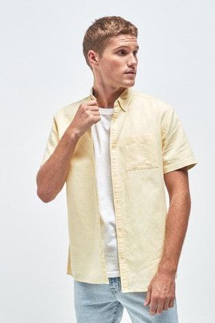Yellow Regular Fit Linen Blend Short Sleeve Shirt