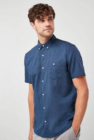 Navy Regular Fit Linen Blend Short Sleeve Shirt