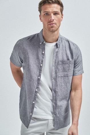 Charcoal Regular Fit Linen Blend Short Sleeve Shirt