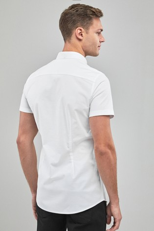 White Slim Fit Short Sleeve Stretch Oxford Shirt