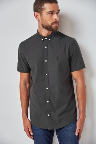 Charcoal Slim Fit Short Sleeve Stretch Oxford Shirt