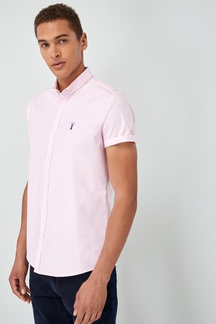 Pink Slim Fit Short Sleeve Stretch Oxford Shirt