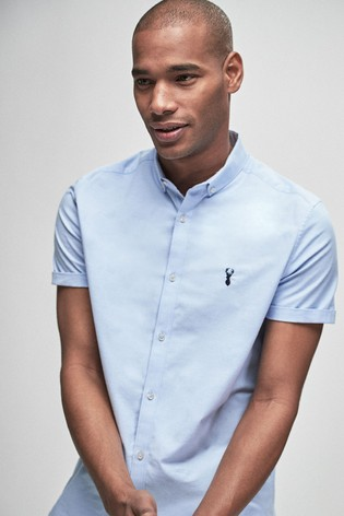 Light Blue Slim Fit Short Sleeve Stretch Oxford Shirt