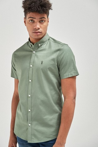 Green Slim Fit Short Sleeve Stretch Oxford Shirt