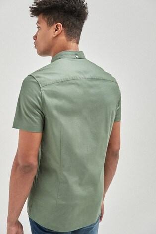 Green Slim Fit Short Sleeve Stretch Oxford Shirt