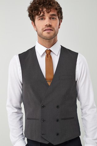 Charcoal Suit: Double Breasted Waistcoat