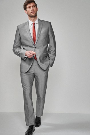 Light Grey Tailored Fit Two Button Suit: Jacket