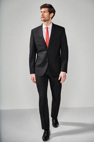 Black Regular Fit Two Button Suit: Jacket