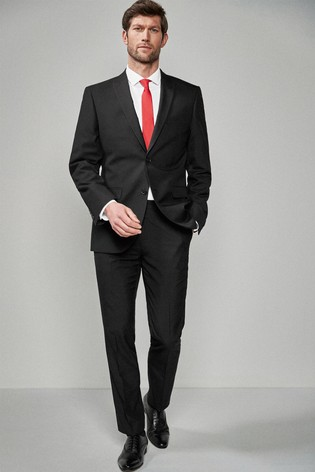 Black Tailored Fit Two Button Suit: Jacket