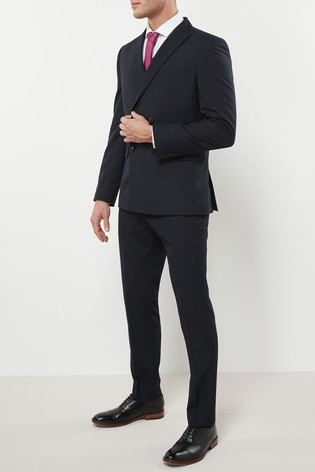 Navy Double Breasted Slim Fit Two Button Suit: Jacket