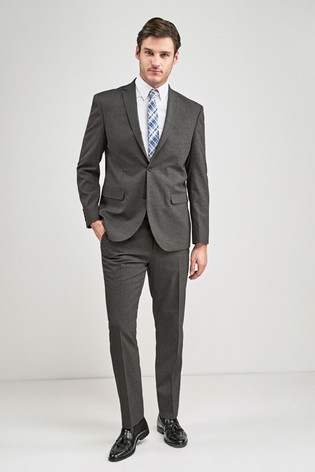 Grey Regular Fit Stretch Marl Suit: Jacket