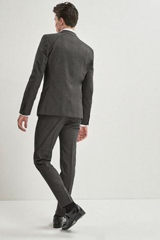 Grey Regular Fit Stretch Marl Suit: Jacket