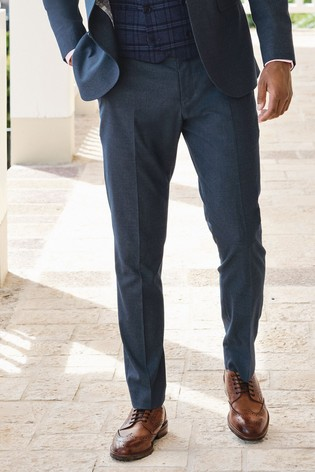 Blue Regular Fit Stretch Marl Suit: Trousers