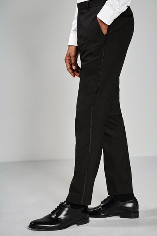 Black Slim Fit Tuxedo Trousers With Contrast Tape Detail
