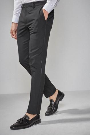 Black Skinny Fit Tuxedo Trousers With Contrast Tape Detail