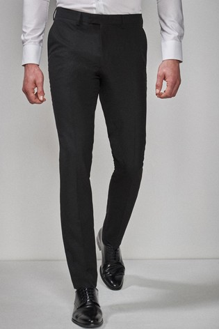 Black Slim Fit Tuxedo Suit Trousers