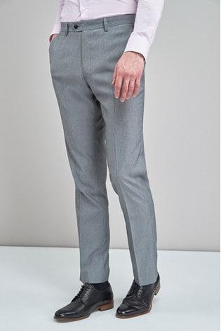 Light Grey Regular Fit Stretch Tonic Suit: Trousers