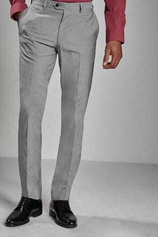 Light Grey Slim Fit Stretch Tonic Suit: Trousers