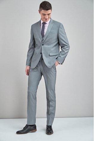 Light Grey Regular Fit Stretch Tonic Suit: Jacket